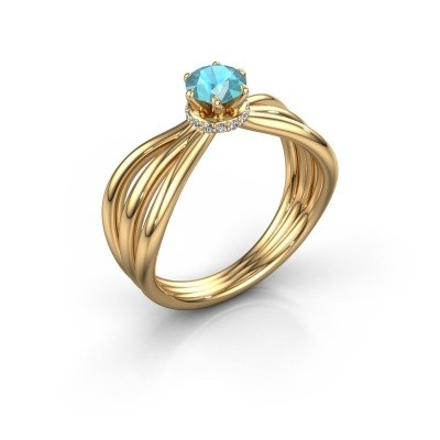Verlovingsring Kimi 750 goud blauw topaas 5 mm