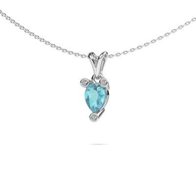 Picture of Necklace Cornelia Pear 950 platinum blue topaz 7x5 mm