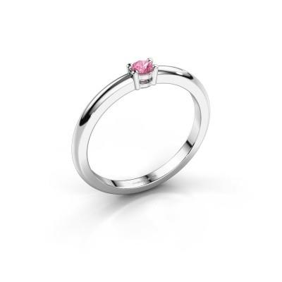Foto van Verlovingsring Michelle 1 585 witgoud roze saffier 2.7 mm