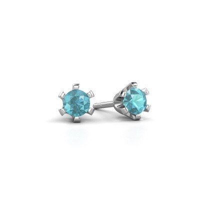 Picture of Stud earrings Shana 925 silver blue topaz 4 mm