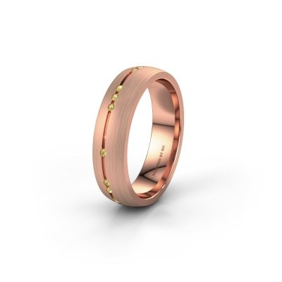 Trouwring WH0166L25A 585 rosé goud gele saffier ±5x1.7 mm