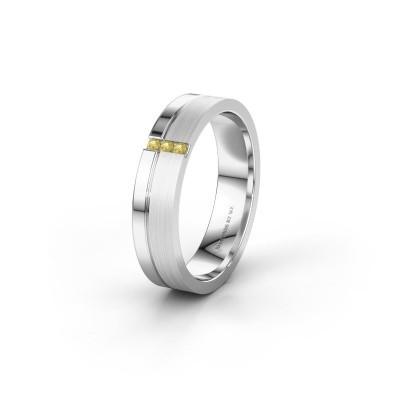 Trouwring WH0157L14XPM 925 zilver gele saffier ±4x1.4 mm