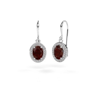 Picture of Drop earrings Latesha 375 white gold garnet 8x6 mm