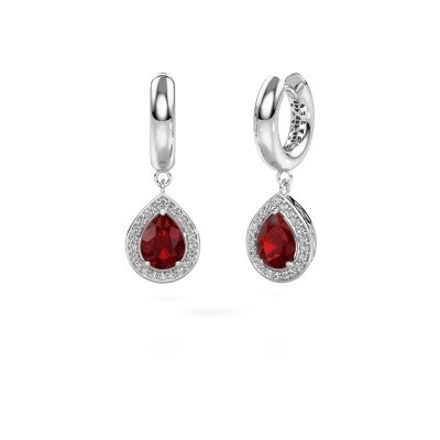 Picture of Drop earrings Barbar 1 925 silver ruby 8x6 mm