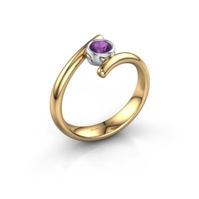 Ring Mary 585 goud amethist 4 mm