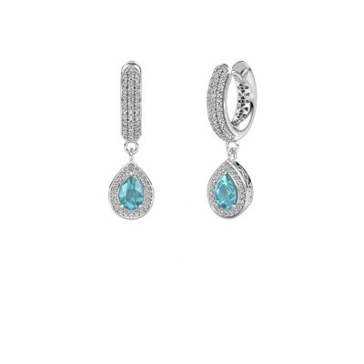 Picture of Drop earrings Barbar 2 375 white gold blue topaz 6x4 mm