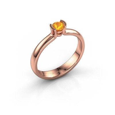 Foto van Verlovingsring Ophelia 375 rosé goud citrien 4 mm