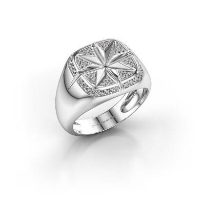 Foto van Heren ring Ravi 375 witgoud diamant 0.35 crt