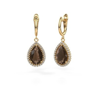 Picture of Drop earrings Hana 1 585 gold smokey quartz 12x8 mm