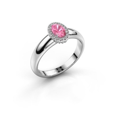 Engagement ring Tamie 950 platinum pink sapphire 6x4 mm