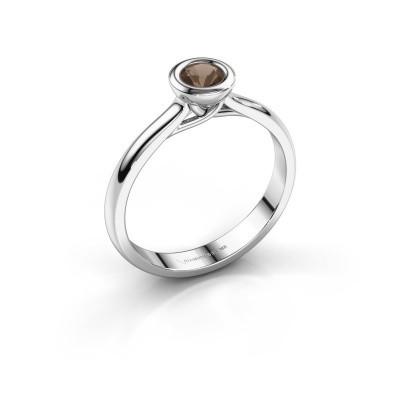Foto van Verlovings ring Kaylee 950 platina rookkwarts 4 mm