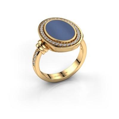 Foto van Heren ring Servie 585 goud blauw lagensteen 14x10 mm