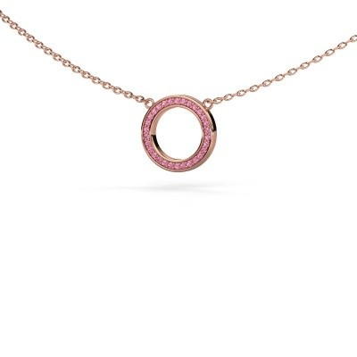 Picture of Pendant Round 1 375 rose gold pink sapphire 0.8 mm