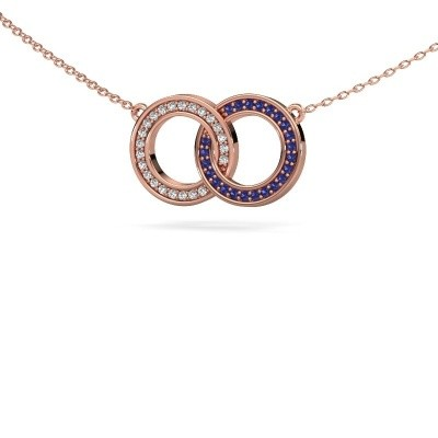 Picture of Necklace Circles 1 375 rose gold sapphire 1 mm