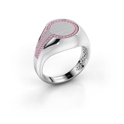 Foto van Heren ring Gijs 375 witgoud roze saffier 1 mm