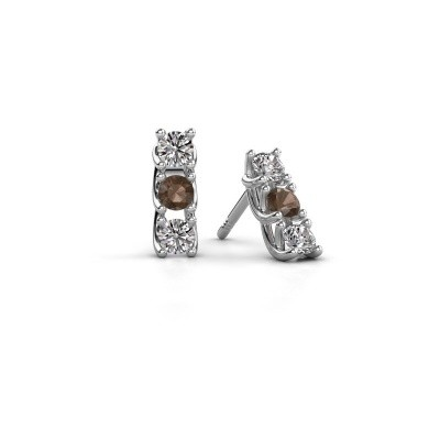 Picture of Earrings Fenna 925 silver smokey quartz 3 mm