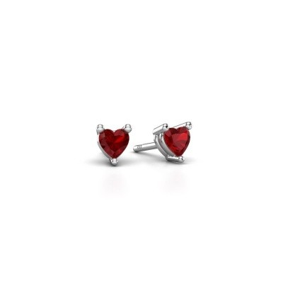 Picture of Stud earrings Garnet 585 white gold ruby 4 mm