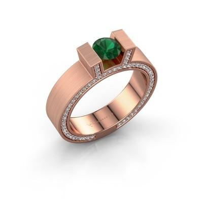 Foto van Ring Leena 2 375 rosé goud smaragd 5 mm