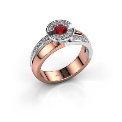 Foto van Ring Jeanet 2 585 rosé goud robijn 4 mm