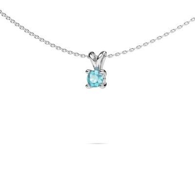 Picture of Necklace Sam round 950 platinum blue topaz 4.2 mm