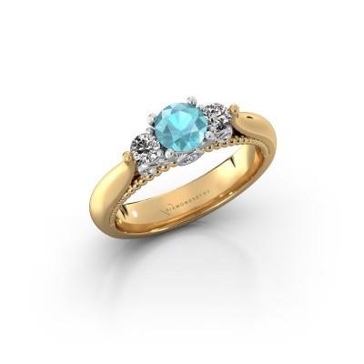 Foto van Verlovingsring Tiffani 585 goud blauw topaas 5 mm