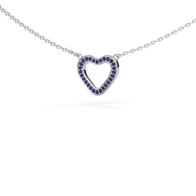 Picture of Pendant Heart 3 585 white gold sapphire 0.8 mm