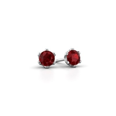 Picture of Stud earrings Fran 585 white gold ruby 4.7 mm