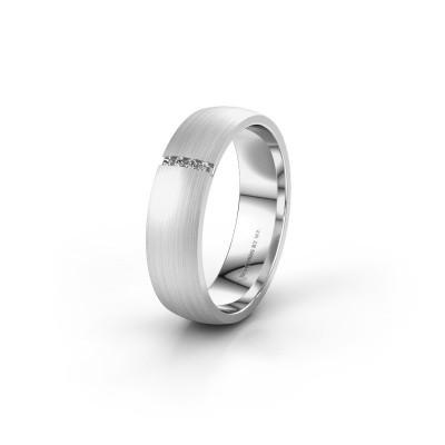 Trouwring WH0154L25XM 585 witgoud diamant ±5x1.4 mm