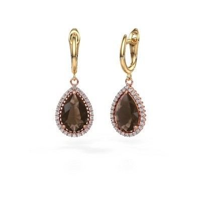 Picture of Drop earrings Hana 1 585 rose gold smokey quartz 12x8 mm