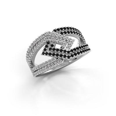 Foto van Ring Emanuelle 585 witgoud zwarte diamant 0.836 crt