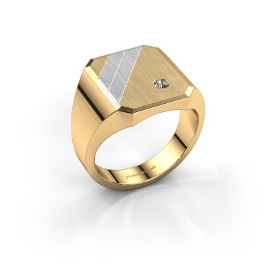 Zegelring Patrick 4 585 goud diamant 0.03 crt