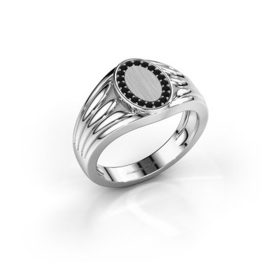 Foto van Pinkring Marinus 375 witgoud zwarte diamant 0.18 crt