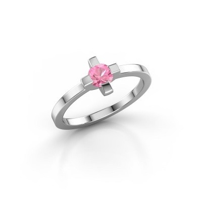 Foto van Ring Therese 585 witgoud roze saffier 4.2 mm