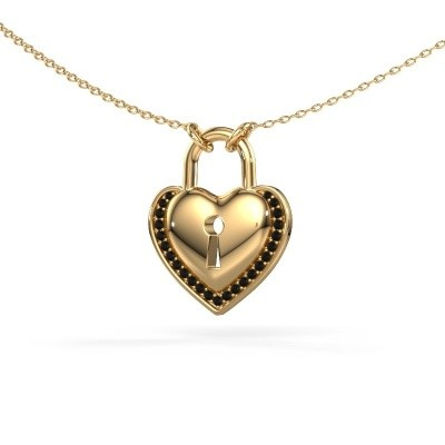 Picture of Necklace Heartlock 585 gold black diamond 0.138 crt