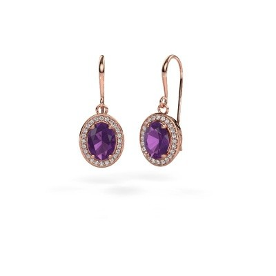 Picture of Drop earrings Latesha 375 rose gold amethyst 8x6 mm