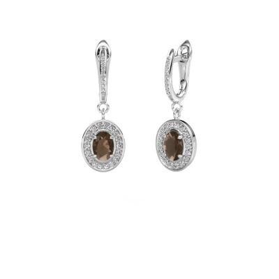 Picture of Drop earrings Layne 2 585 white gold smokey quartz 7x5 mm
