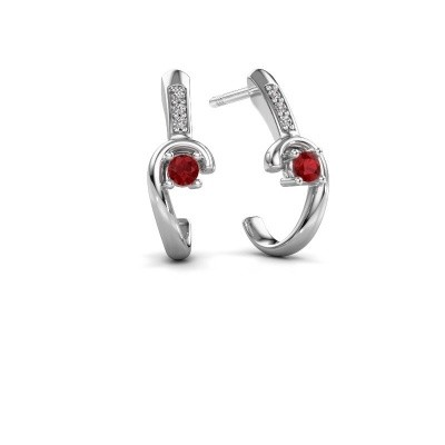 Picture of Earrings Ceylin 925 silver ruby 2.5 mm