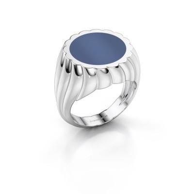 Foto van Zegelring Mano 925 zilver blauw lagensteen 13 mm