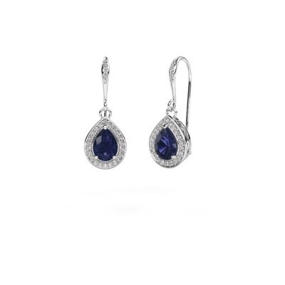 Picture of Drop earrings Beverlee 2 950 platinum sapphire 7x5 mm