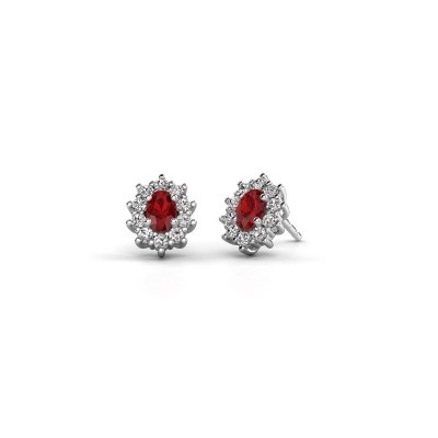 Picture of Earrings Leesa 585 white gold ruby 6x4 mm
