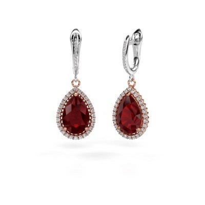 Picture of Drop earrings Hana 2 585 rose gold ruby 12x8 mm