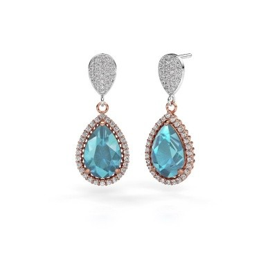 Picture of Drop earrings Cheree 2 585 rose gold blue topaz 12x8 mm