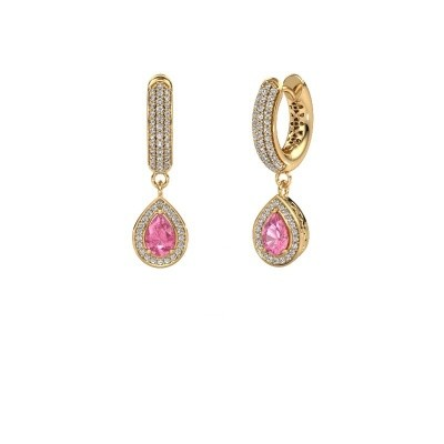 Picture of Drop earrings Barbar 2 585 gold pink sapphire 6x4 mm