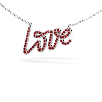 Foto van Hanger Love 925 zilver robijn 1 mm