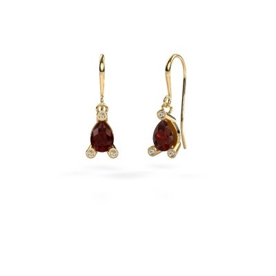 Picture of Drop earrings Bunny 1 585 gold garnet 7x5 mm