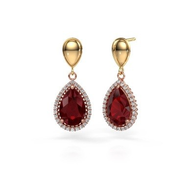 Picture of Drop earrings Cheree 1 585 rose gold ruby 12x8 mm
