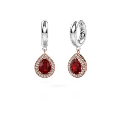 Picture of Drop earrings Barbar 1 585 rose gold ruby 8x6 mm