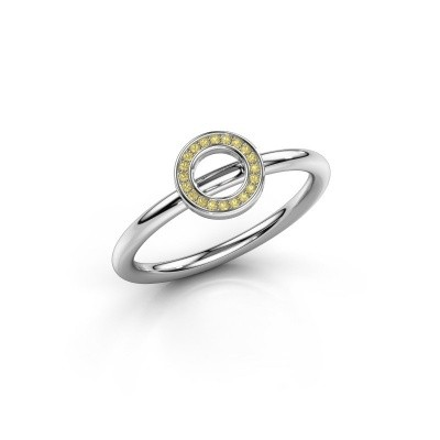 Foto van Ring Shape round small 750 witgoud gele saffier 0.8 mm