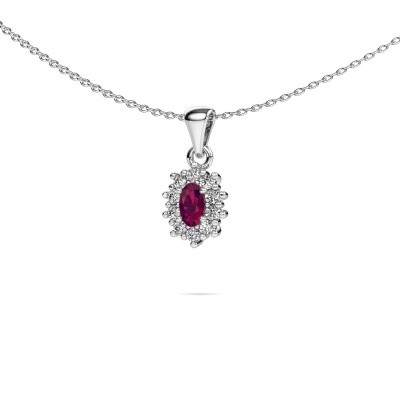 Picture of Necklace Leesa 925 silver rhodolite 6x4 mm