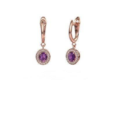 Picture of Drop earrings Nakita 375 rose gold amethyst 5x4 mm